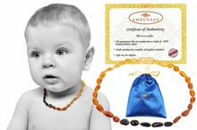 High Quality Natural Baltic Amber Baby Teething necklaces - Unpolish Beans Rainbow color