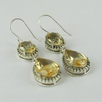 Genuine Yellow !! Citrine 925 Sterling Silver Earring, Handmade Silver Jewelry Earring, Unique Designs Silver Jewelry Wholesaler
