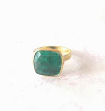 gold plated Dyed Emerald sterling silver Ring