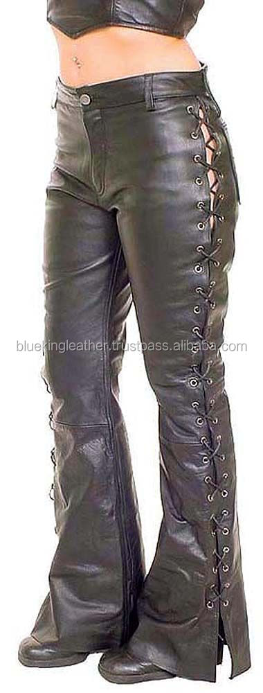 Lip Service Badlands Rocker Lace Up Lamb Leather Stretch Women's Flare Pants Black