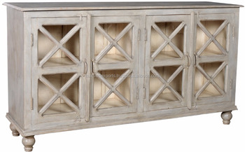Antique Wooden Sideboard Buffet With Four Door White Gray Distressed Finish