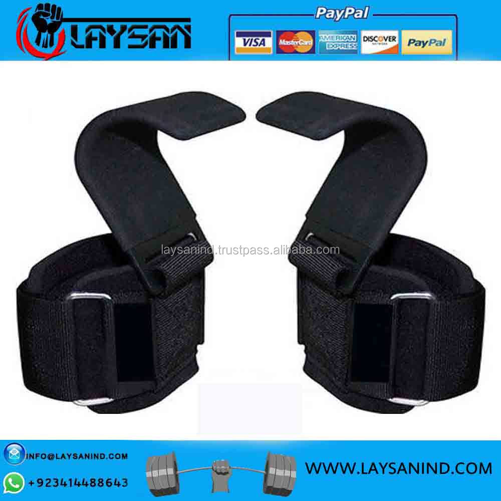 Weight Lifting Rod Hooks Heavy Duty Neoprene Padded Wrist Wraps Power Weight Lifting Training