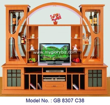 Wooden wall cabinet modern tv stand mdf furniture wood for Tv cabinet designs for hall