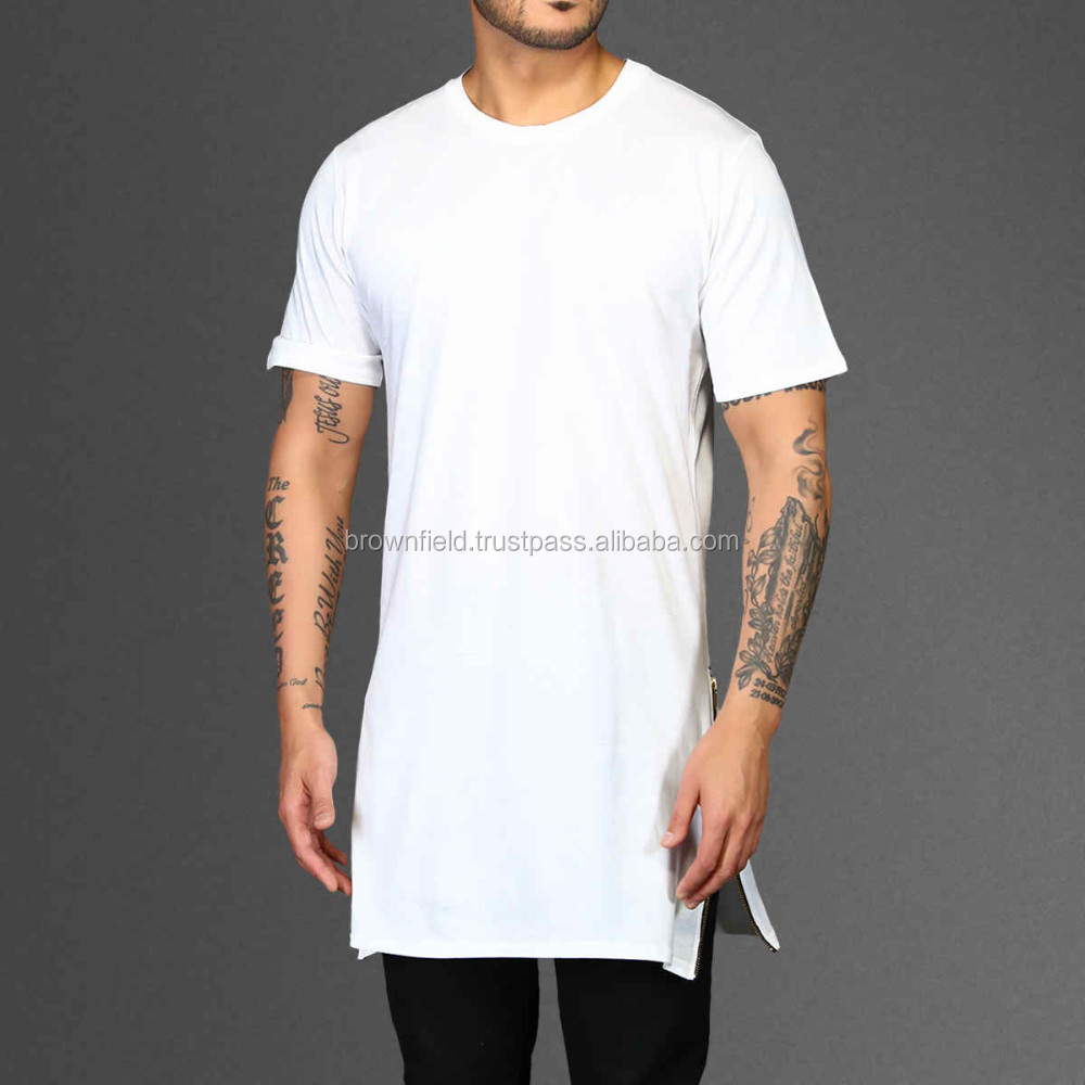 The Basic Long Tail Tee Round Neck Plain T Shirt - Buy Long Tail T ...