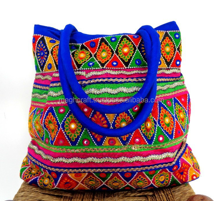India traditional Handmade bags-vintage banjara bag tribal hand embroidery purse-Wholesale Patch work Blue handbags