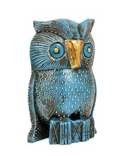 Stunning Handmade Decorative Wooden Owl Sculpture (6 inches) with Brass Metal Features & Hand Embossin