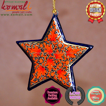 red floral hand painted wooden cutout star 2018 christmas decoration ornament craft stars of many color