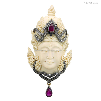 Carved bone gemstone buddha pendant 925 sterling silver pave diamond carved bone gemstone buddha pendant 925 sterling silver pave diamond ruby religious designer jewelry aloadofball Gallery