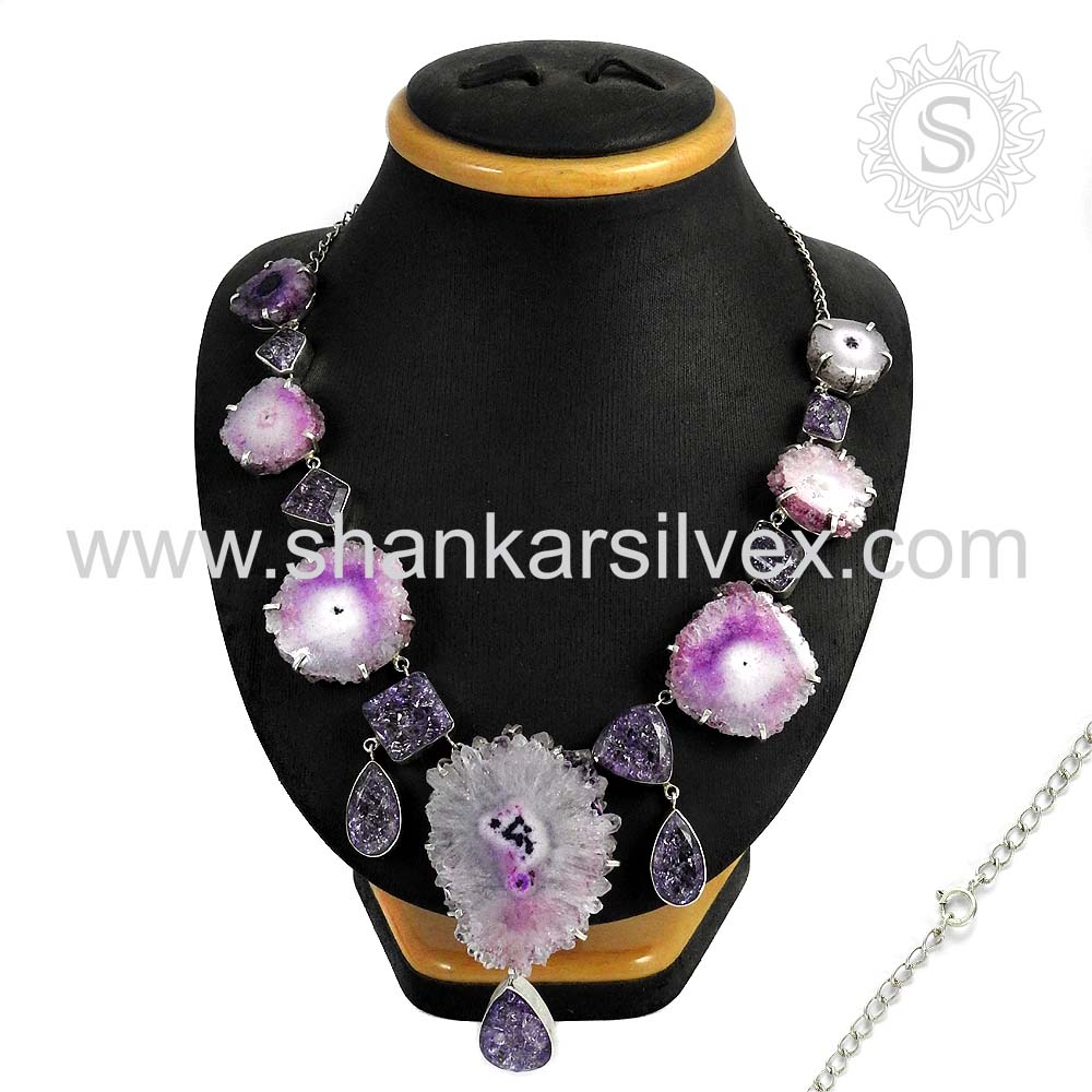 Glowing New Indian Gemstone Silver Necklace Antique Style 925 Sterling Silver Jewelry Wholesale India