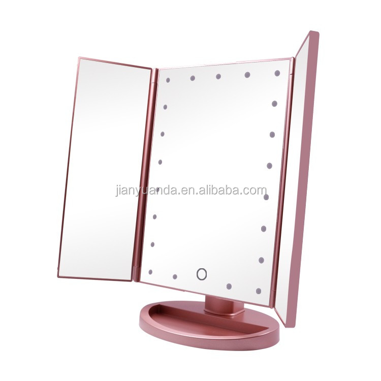 Girl Beauty Led Lighted Tri Fold Makeup Mirror Table Mirror For Cosmetic  Makeup