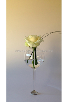 Hand-Blown Glass, Vertical magnetic sphere vase, HandMade in Italy