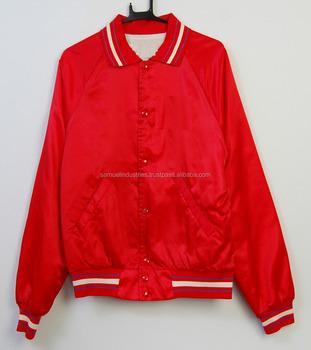 Satin Bomber Jacket Red Baseball Letterman Varsity Jacket Customize