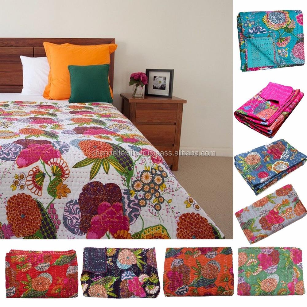 Indian Floral  kantha Quilt Handmade Cotton Blanket Throw Bedspread Gudari