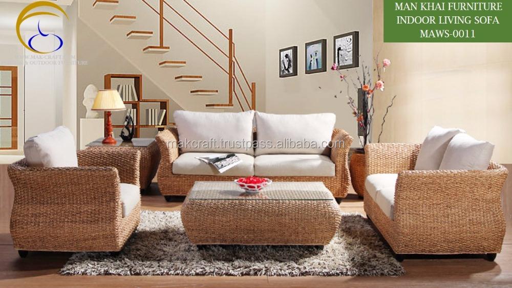 Water Hyacinth Interior Indoor Rattan Wicker Sofa Set Arabic Living Room Furniture Wood