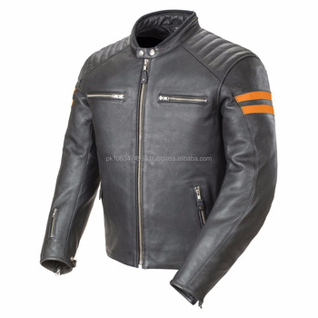 Classic Leather Biker Jacket Top Grade Milled Leather Motorcycle