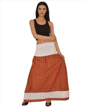SNS Cotton Bobbin Printed Long Maxi Skirt cum Dress Jacquard Border