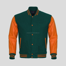 Basketball/ Team Varsity Jacket for brands/ Your own logo wool and leather jacket/ Forest / Dark Green wool Jacket with orange