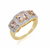 high quality diamond pink morganite gemstones 10k gold ring price