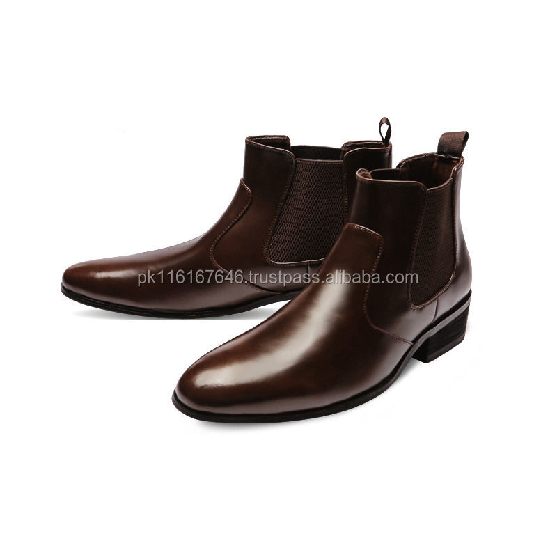 Shinny Brown Leather Fashion Mens Dress Shoes