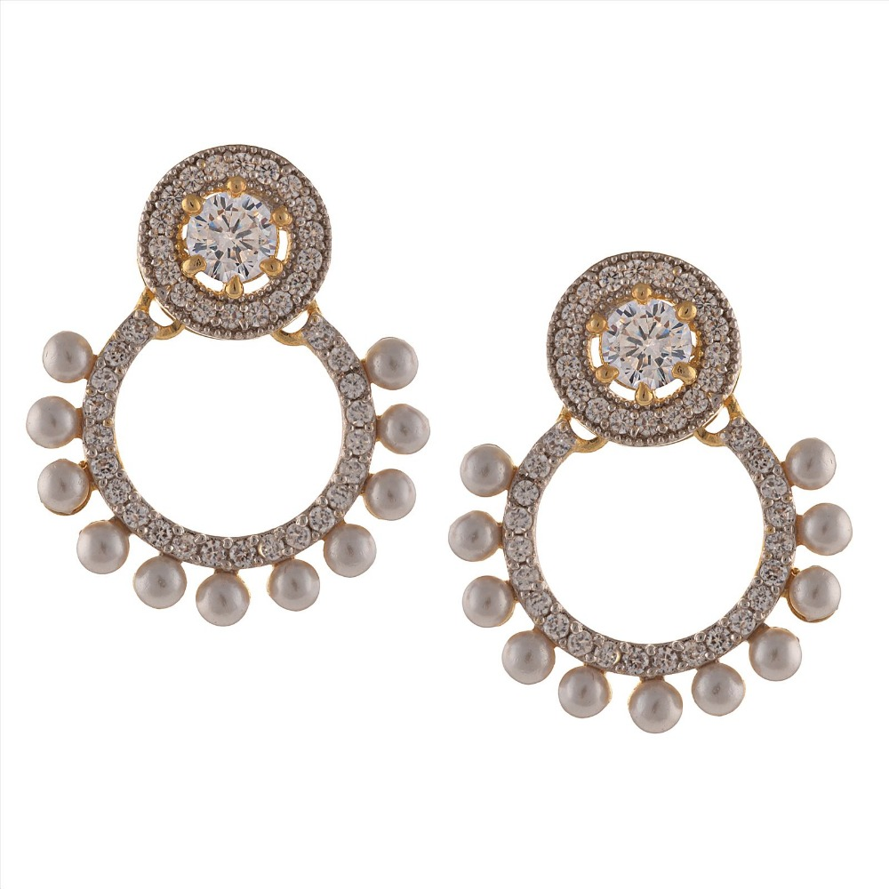 Zephyrr Fashion American Diamond Gold Dangle and Drop Earrings with Pearls