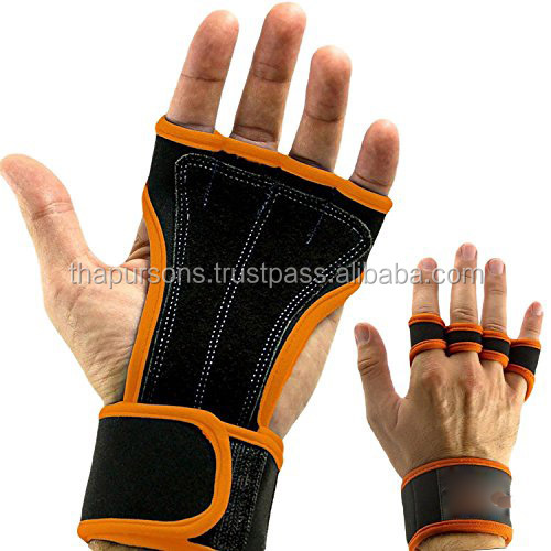 Weight Lifting Gloves With Wrist Wraps Hand Support Bandages Gym Straps Neoprene Grip Brace