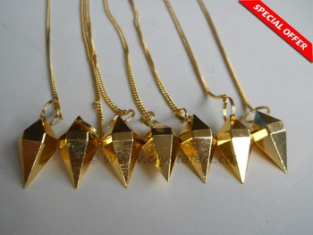 GOLDEN FACETED DOUBLE TERMINATED POINTS METAL PENDULUM
