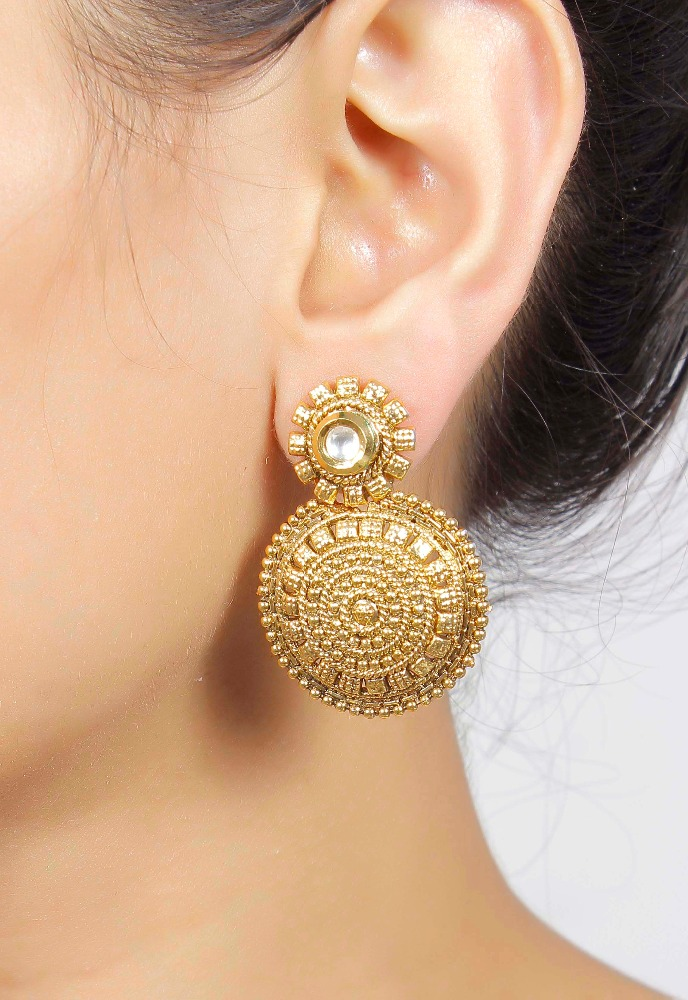 Indian Gorgeous Gold Plated Earrings With Kundan