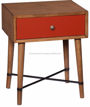 Attrayant Retro Futuristic Wooden Accent Table Side End Table Night Stand With Drawer