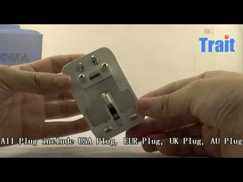 All in one Travel Power Plug Adapter, USA, UK, EU Plug, AU Plug at trait-tech.com