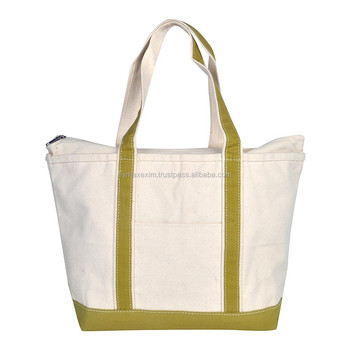 Zippered Extra Large Top Tote Bag Canvas