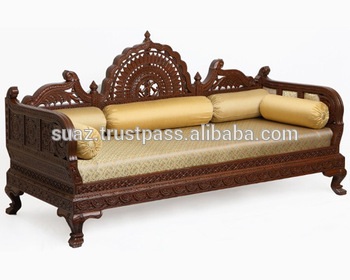 Wood Divan Luxury Style Sofa Stan Diwan Handmade Devan Sofas Set Carved Wooden Traditional Stani Dewaan
