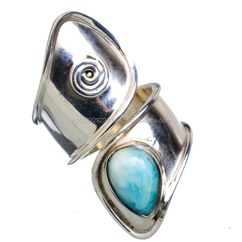 Rare Larimar 925 Sterling Silver Ring Ring,925 sterling silver jewelry wholesale,JEWELRY EXPORTER