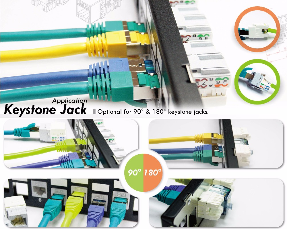 180 Degree Rj45 Cat6 Stp Network Connector Delta Certified Toolless Wiring Keystone Jack