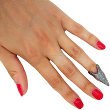 925 Sterling Silver Jewellery Accessories Pave Diamond Fashion Nail Ring