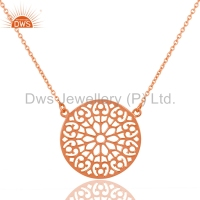 Filigree Designer Rose Gold Plated Fashion Pendants 925 Sterling Plain Silver Chain Pendants Jewelry Manufacturers