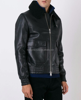 Faux Shearling Lined Leather Jacket Men Leather Jacket Buy