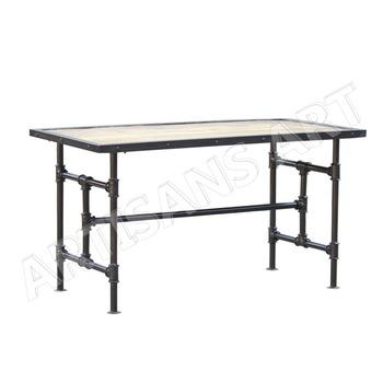 Industriele Metalen Eettafel.Handgemaakte Rustieke Industriele Metalen Hout Loft Eettafel