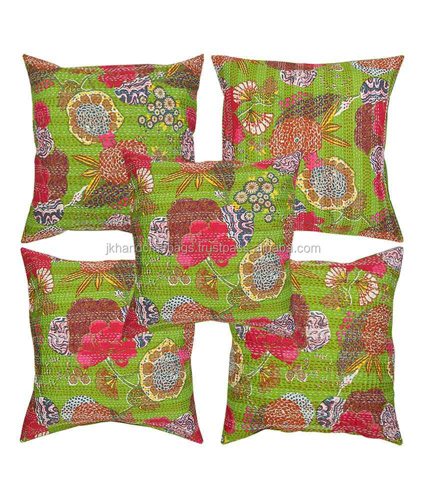 Indian Fruit Print Kantha Cushion Cover Tropical Kantha Cushion Pillow Covers Set Of 5 Pcs