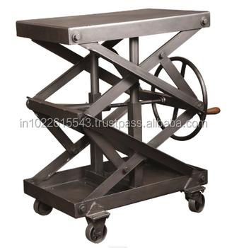 Metal Scissor Lift Style Kitchen Cart Vintage Storage With Adjule Height