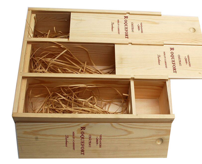 Large unfinished empty 3 bottle wooden wine box wholesale for Empty wine crates