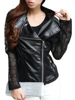 Hollow Out Patchwork Charming Lapel Sheep Leather Jackets