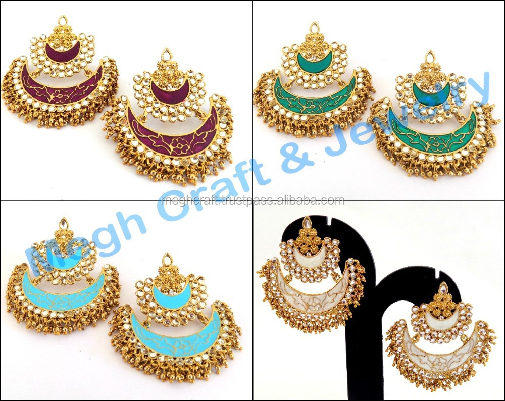 4c76dff72 Meenakari Kundan Earrings-2015 Pearl Chandelier Earring-Wholesale Indian  Traditional Meenakari Chandelier Earrings Wholesale, View dangling indian  ...