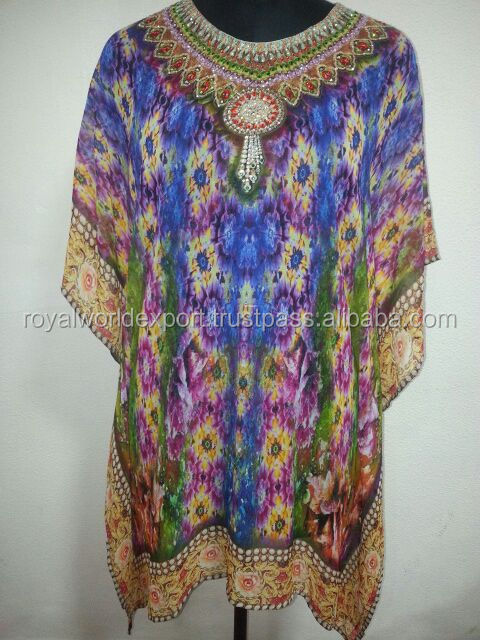 Jewelry Design Print Stylish Indian Style Ladies Embellishment Kaftan /Free Size / 4 Attractive Digital Prints Caftan kaftan