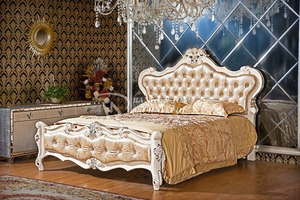 royal bedroom sets european style headboards White bed