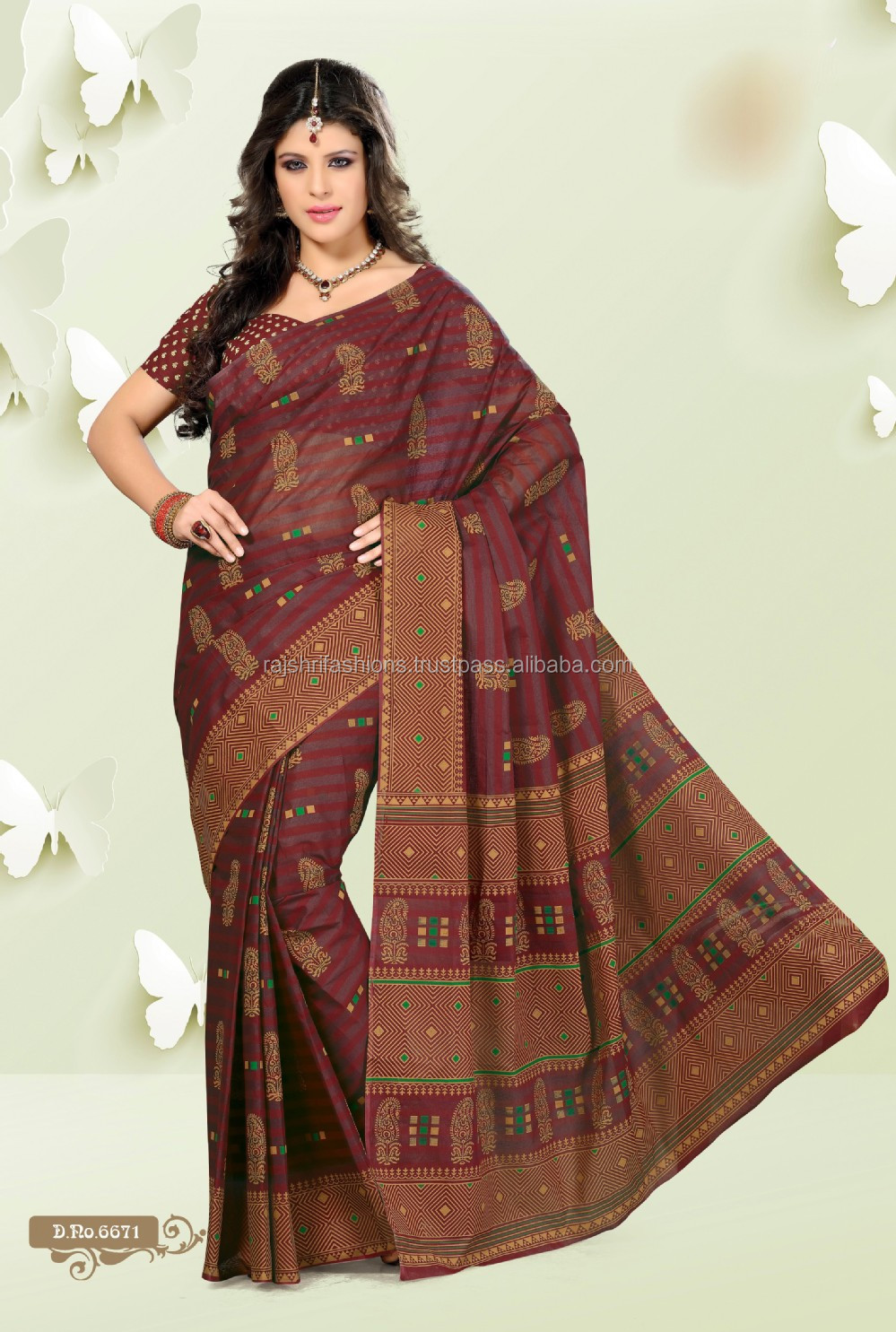 Aura Super Star Cotton Sarees Casual And Simple Indian Cotton ...