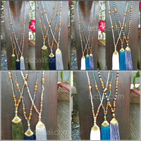 beads crystal with rudraksha yoga necklace knotted tassels handmade jewelry