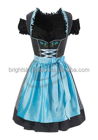 "Handmade""Sky Blue 100%Cotton Dirndl German Bavarian Dress (Party Dress)"