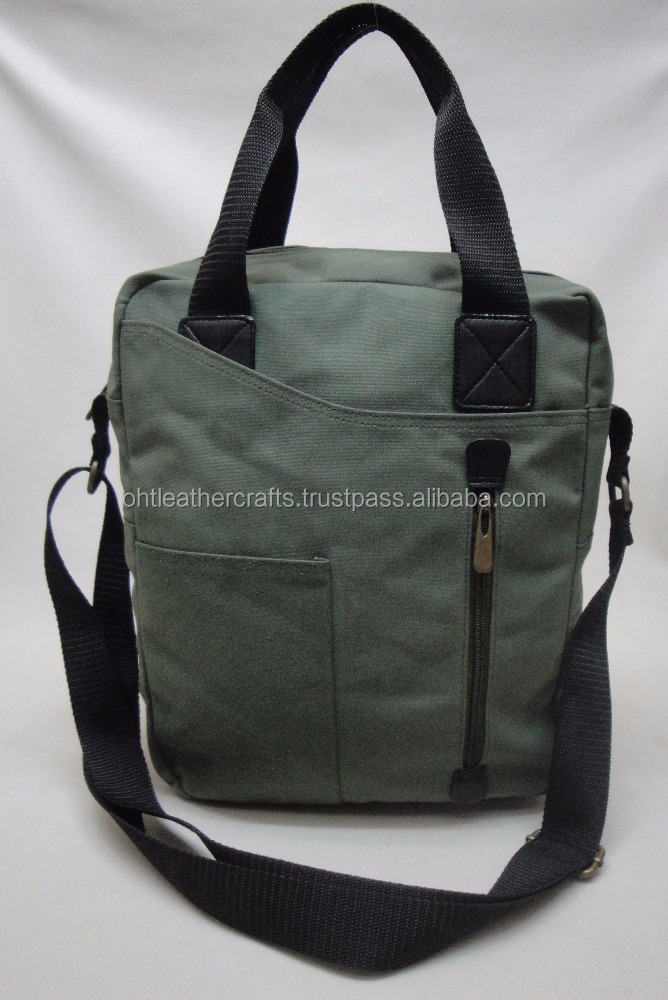 Waterproof Waxed Canvas Tablet Netbook Messenger Bag With Leather Trim Mens Laptop Backpack Shoulder