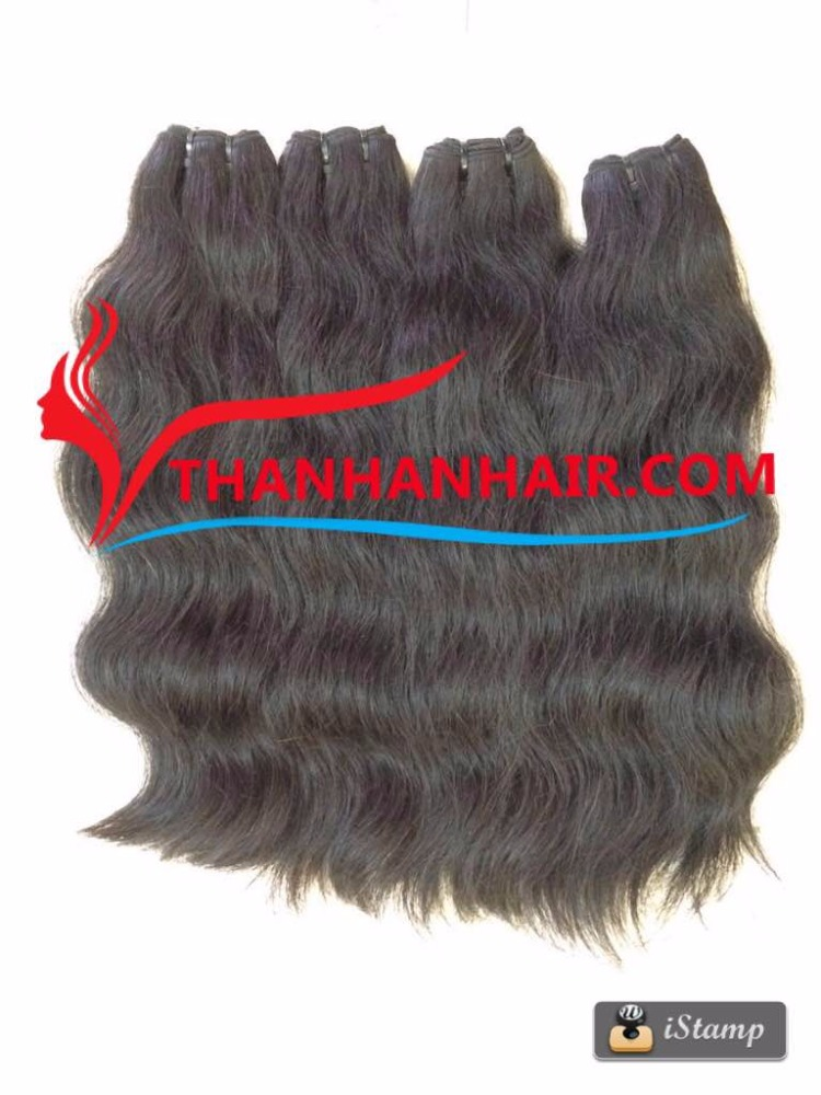 High quality double drawn wavy weft hair human silky wavy hair remy hair weaving