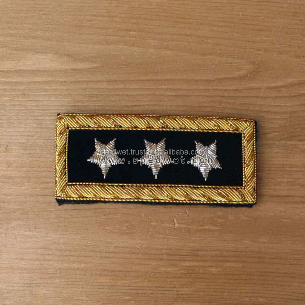 Hand embroidery 3 star general officers shoulder bullion wire united state military infantry cavalry officers shoulder boards